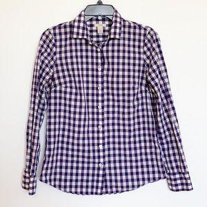 J.CREW Purple and White Button Down Shirt